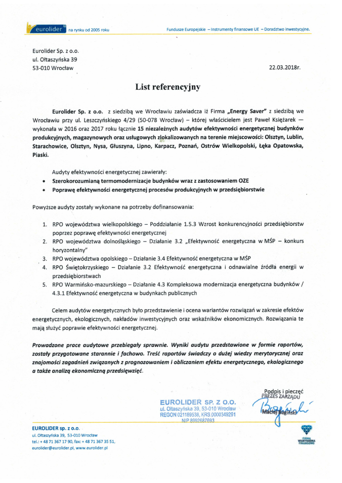 Eurolider - Referencje - Energy Saver Group