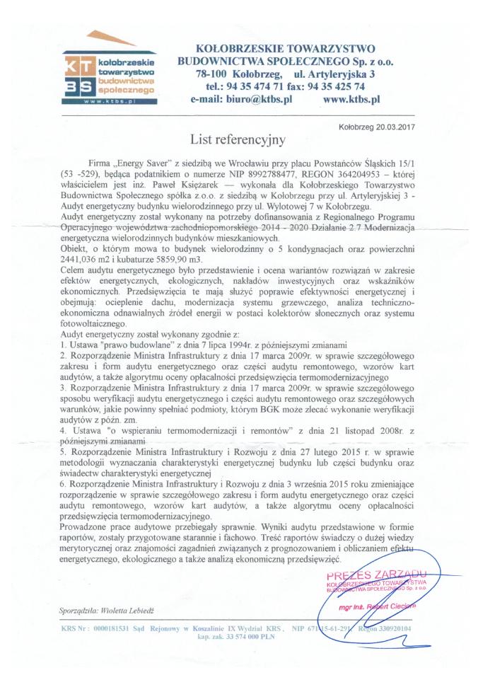 Kołobrzeg ul. Wylotowa - Referencje - Energy Saver Group