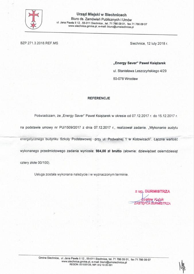 UM Siechnice - Szkoła Podstawowa w Kotowicach - Referencje - Energy Saver Group