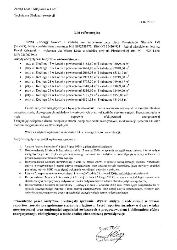 ZLM Łódź - Referencje - Energy Saver Group